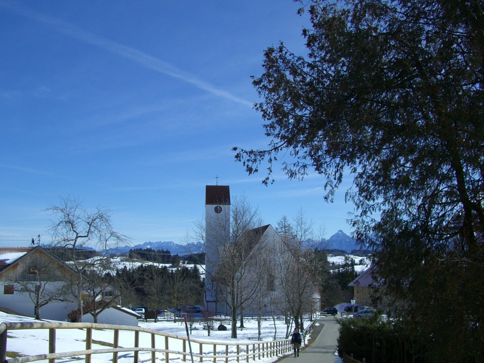 Church, Winter, Snow, Mountains, Sky, Blue, Maria Rain