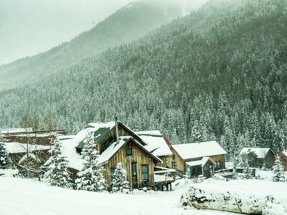 Snow, Mountains, Winter, Frozen, Cabin, Nature