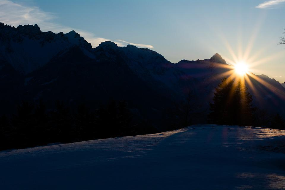 Sunrise, Sun, Mountains, Landscape, Spring, Winter