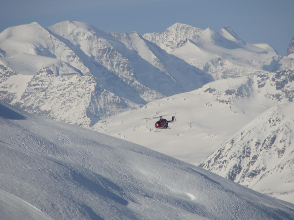 Helicopter, The Alps, Snow, Mountains, Winter, Skis