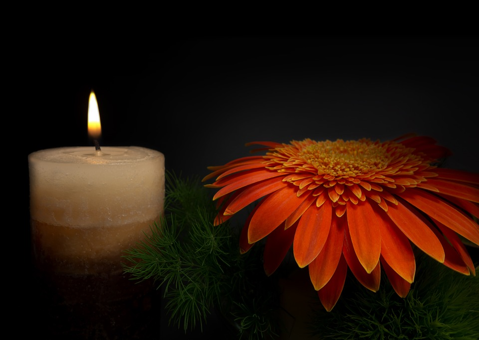Sadness, Candle, Flower, Mourning, Grabschmuck, Memory