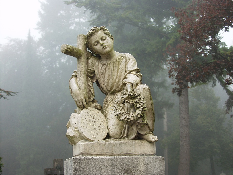 Cemetery, Tombstone, Mourning, Transience, Fog, Angel