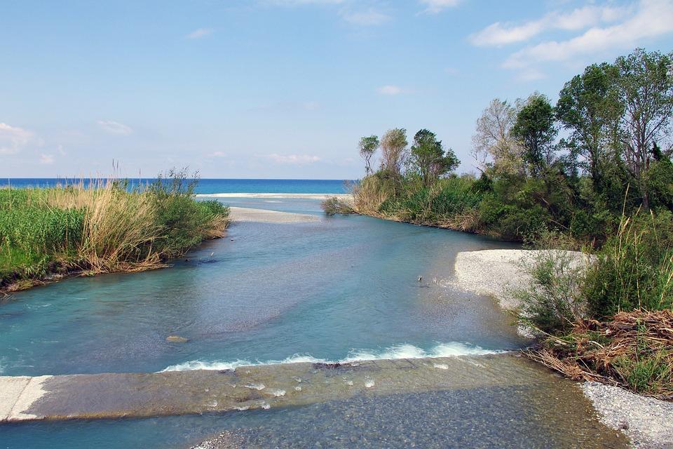 River Lao, Calabria, River, Mouth, Water, Nature, Sea