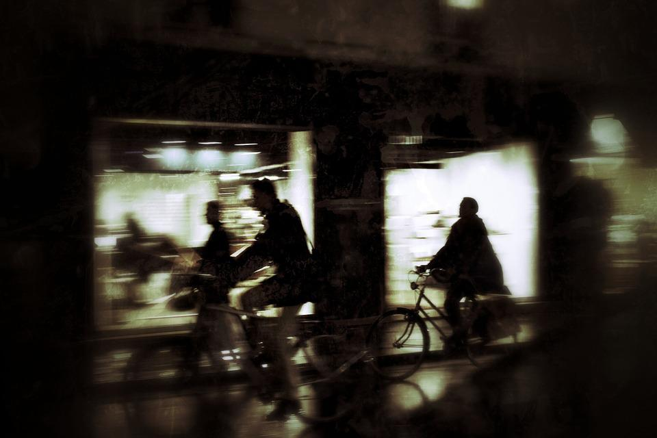 City, Night, Silhouettes, Bike, Movement, Evening