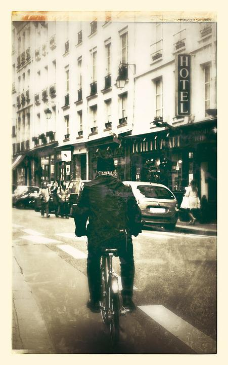 Bike, Paris, City, Building, Movement, Artistic, Urban