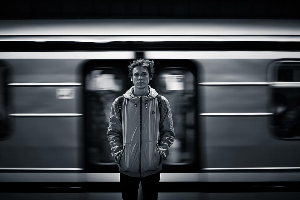 Man, Train, Public Transportation, Moving Train