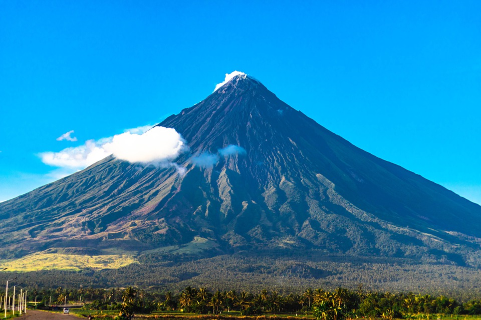 Volcano, Rock, Sky, Clouds, Hills, Trees, Mtmayon
