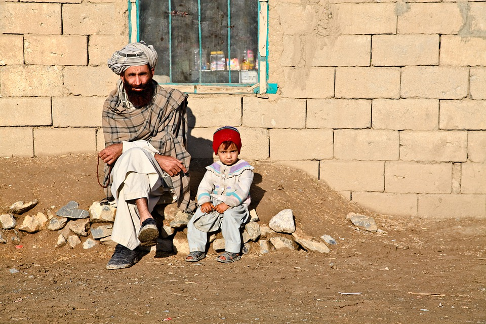 Daughter, Child, Afghanistan, Father, Sitting, Mud