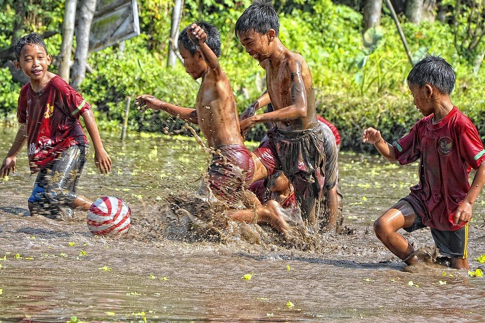 Ball, Child, Mud, Jogjakarta, Yogyakarta, Indonesian