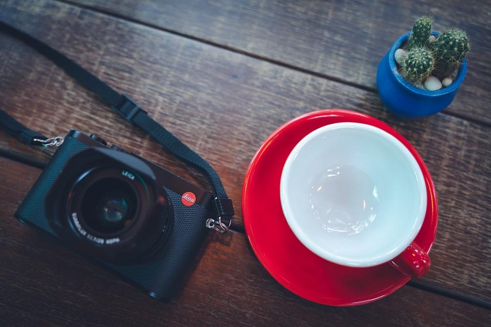 Camera, Cup, Cactus, Table, Wood, Mug, Background