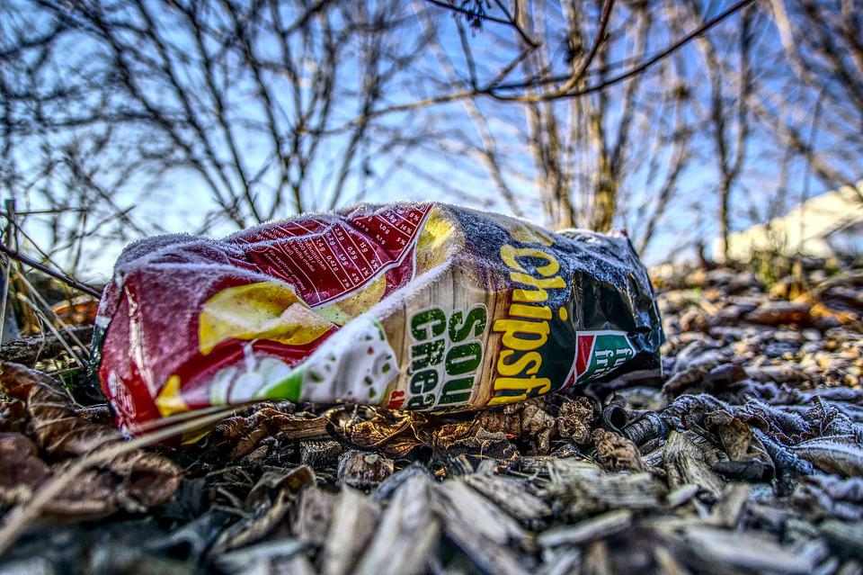 Chips, Bag, Garbage, Dirt, Waste, Pollution, Out, Mulch