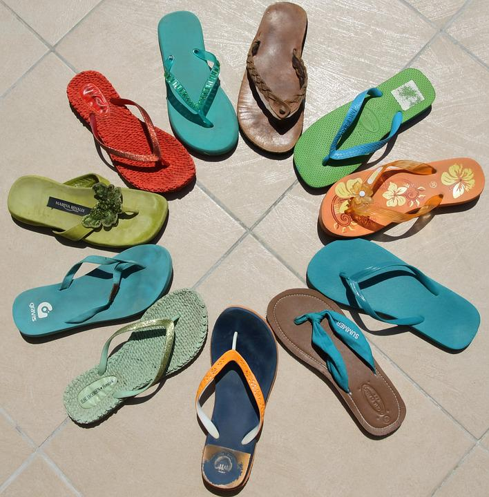 Flip Flops, Multi Colored, Summer, Flip-flop, Blue