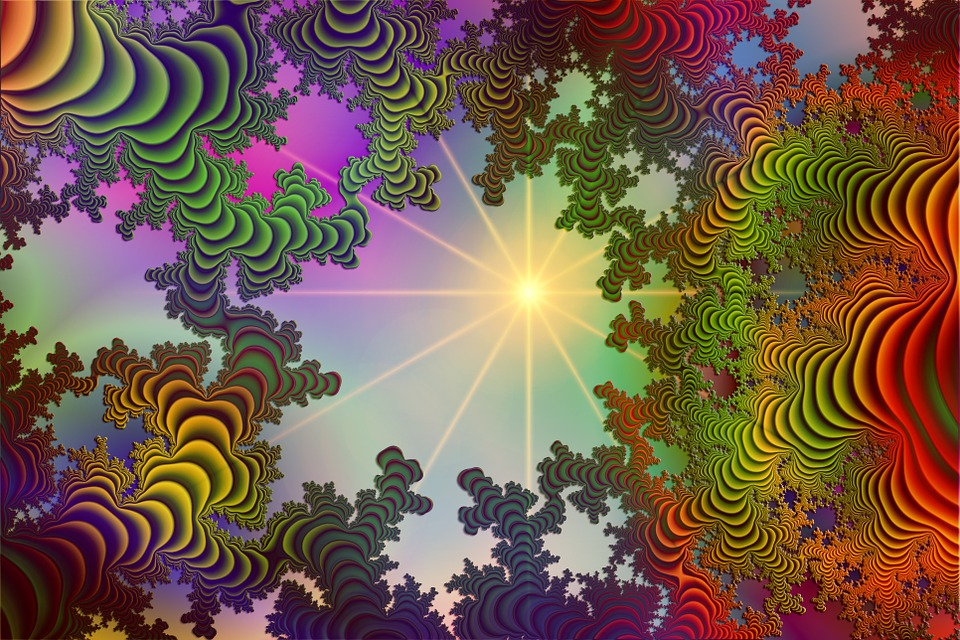Fractals, Multi Coloured, Background, Sun, Rays
