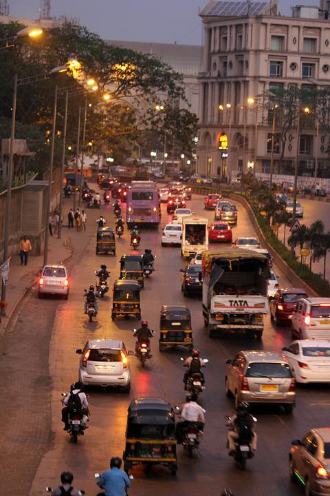 Mumbai, Street, City, Traffic, Rickshaws