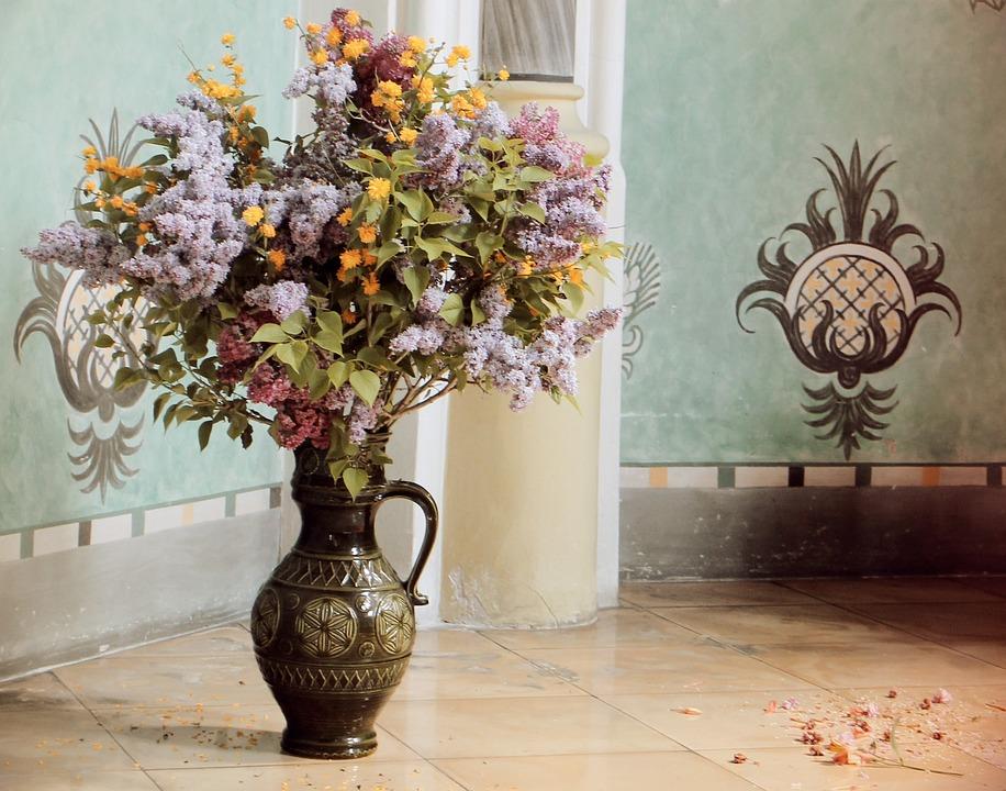 Flower Vase, Antique, Still Life, Bouquet, Mural