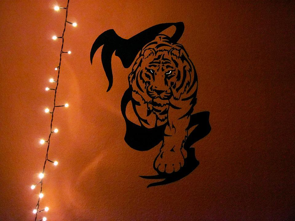 Tiger, Wall, Mural, Lichterkette, Banner, Art