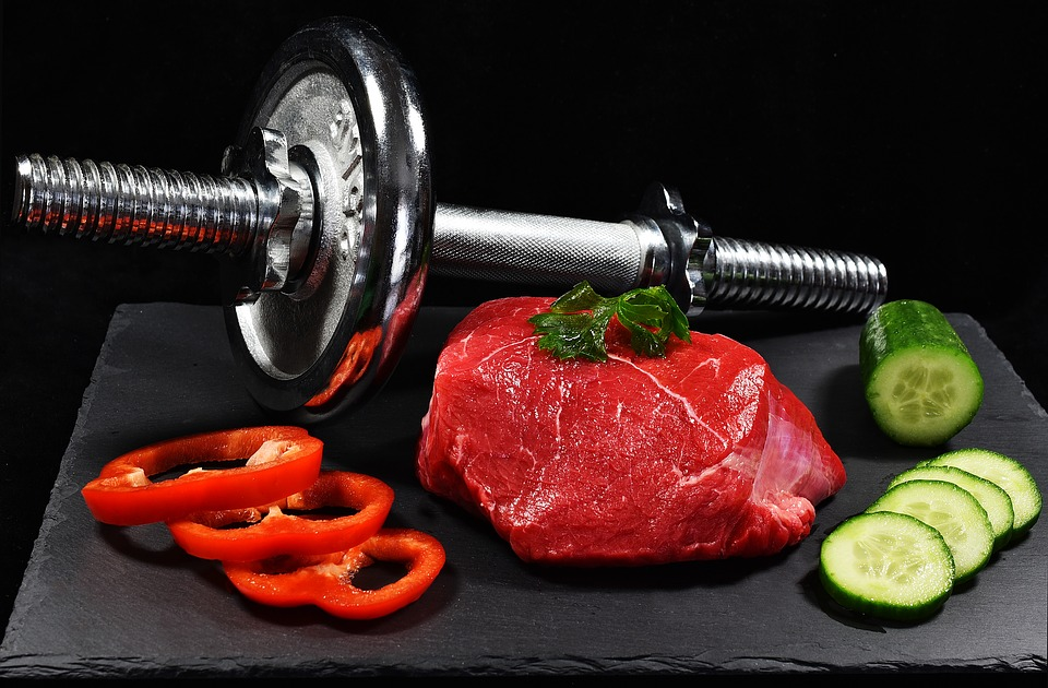 Meat, Dumbbell, Cucumber, Pepper, Food, Muscles