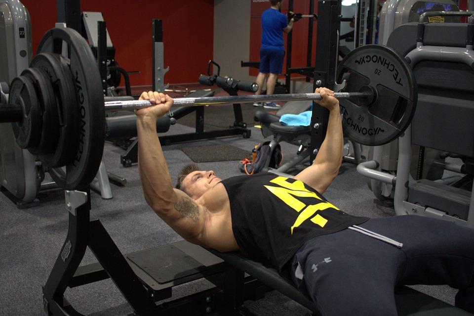 Fitness, Strengthening, Muscles, Gym, Dumbbells, Bench