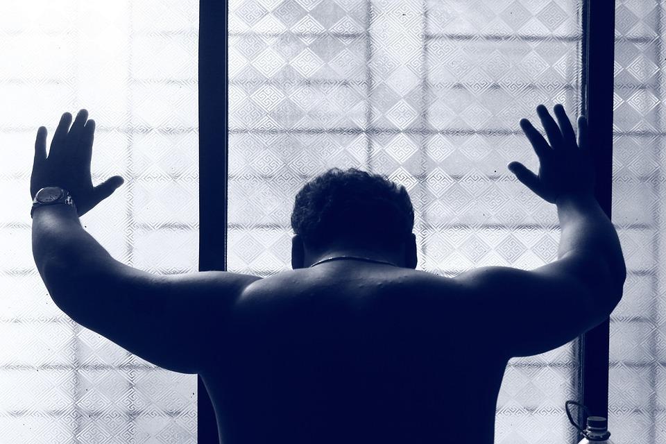 Depressed, Man, Back, Blue, Muscular, Male, Depression