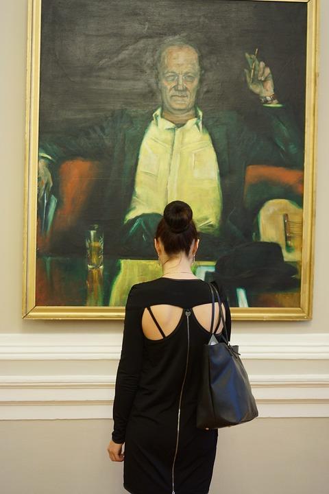 Museum, Picture, Dress, Model, Man