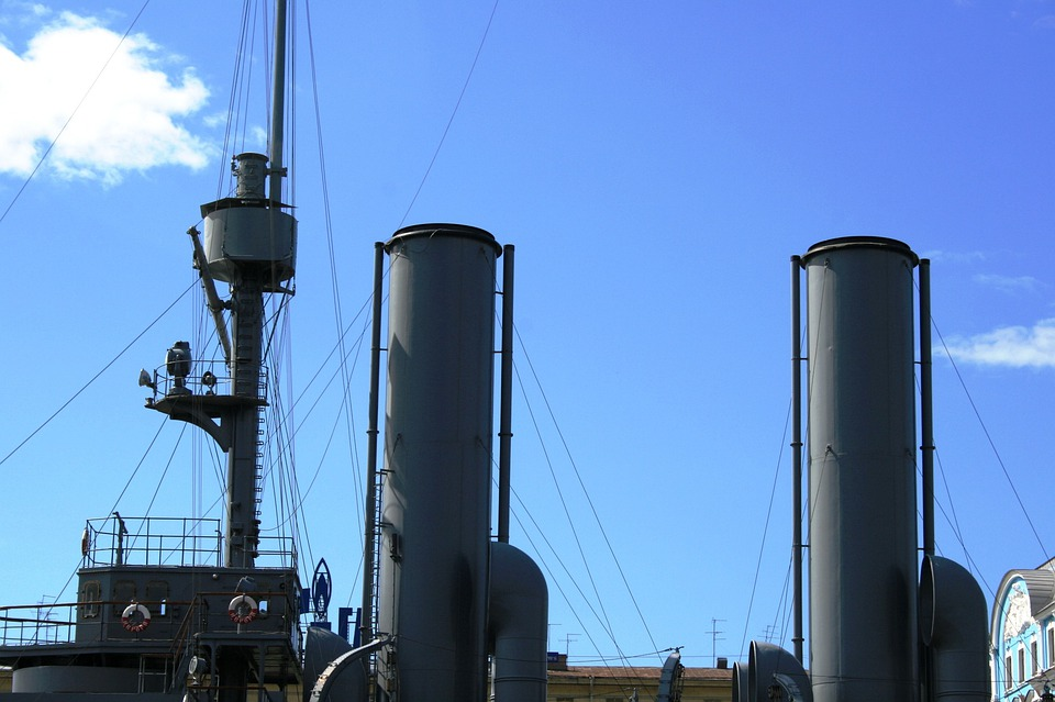 Cruiser, Russian, War Vessel, Museum, Smoke Stacks