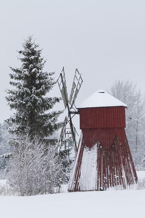 Windmill, Museum, Tower, The Wings, Winter, Snow, Bush