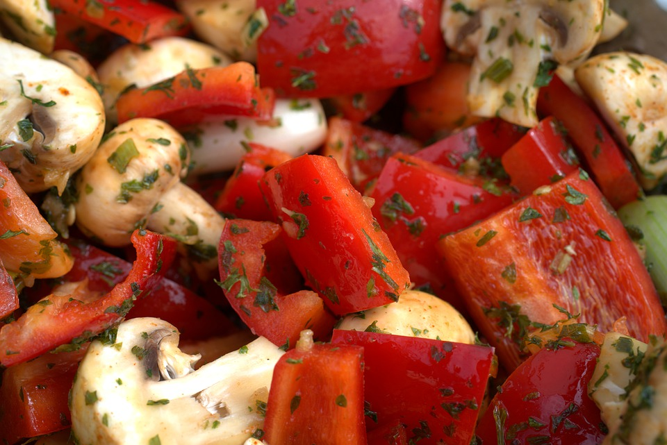 Party, Paprika, Salad, Grill, Barbecue, Mushroom