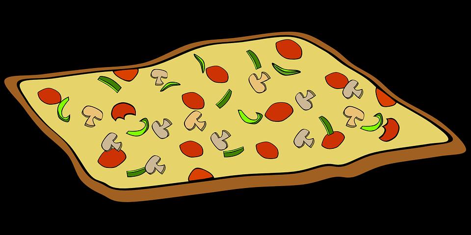 Pizza, Food, Cheese, Tomato, Mushroom, Capsicum