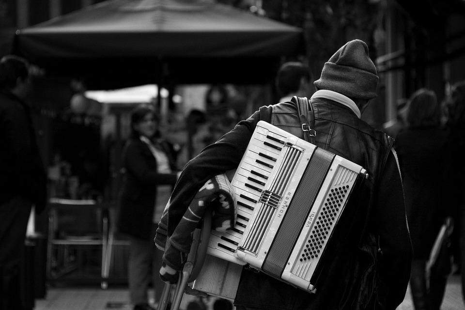 Tramp, Bilbao, Accordion, Music, Poverty, People