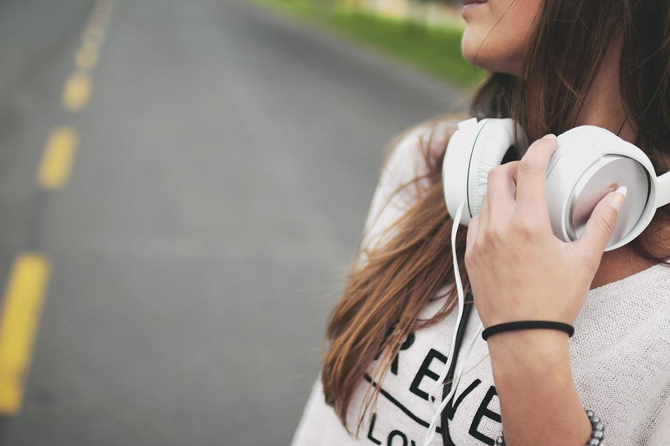 Girl, Music, Headphones, Hipster, Young, Happy, Female