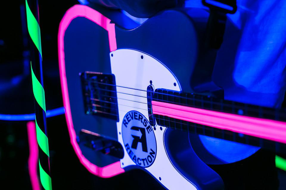 Guitar, Neon, Lighting, Music, Instrument