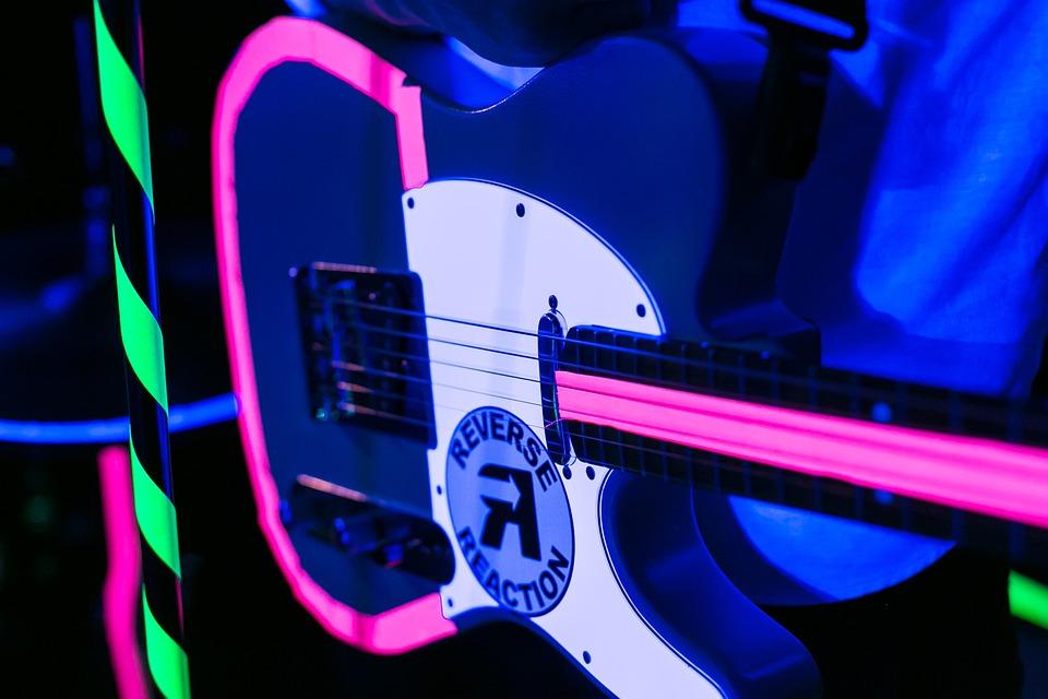 Guitar, Neon, Lighting, Music, Instrument