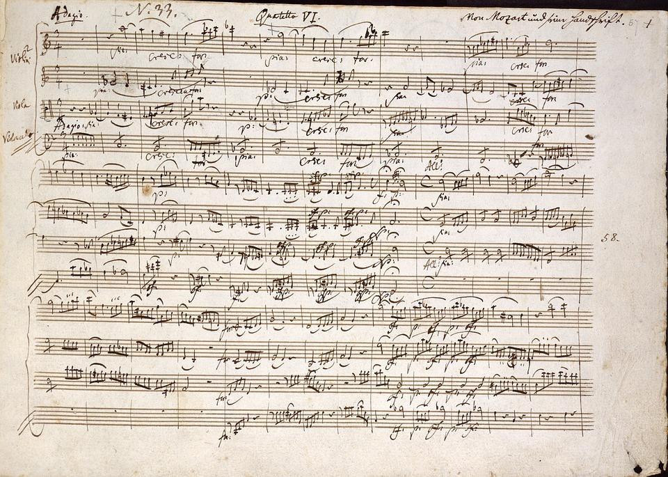 Mozart, Quartet In C, Notes, Handwritten, Music