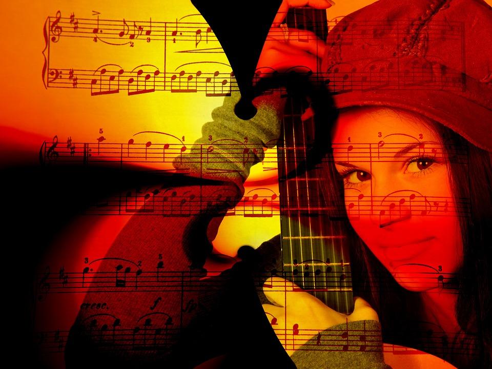 Music, Woman, Guitar, Lines, Notenblatt, Treble Clef