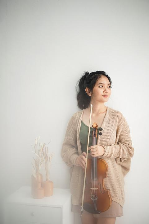 Woman, Violin, Model, Young, Female, Music