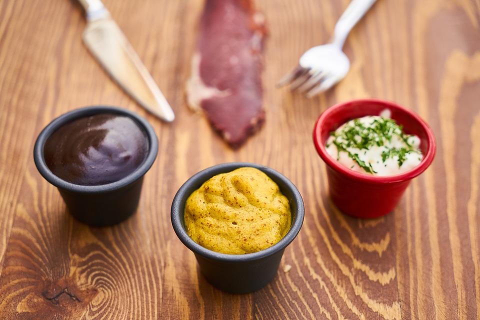 Sauce, Mustard, Mushroom, Fork, Knife, Mayonnaise