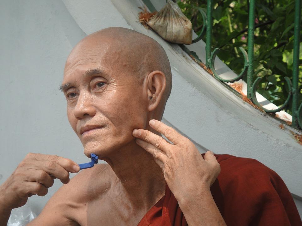 Monk, Shaving, Myanmar, Burma, Facial Skin Care
