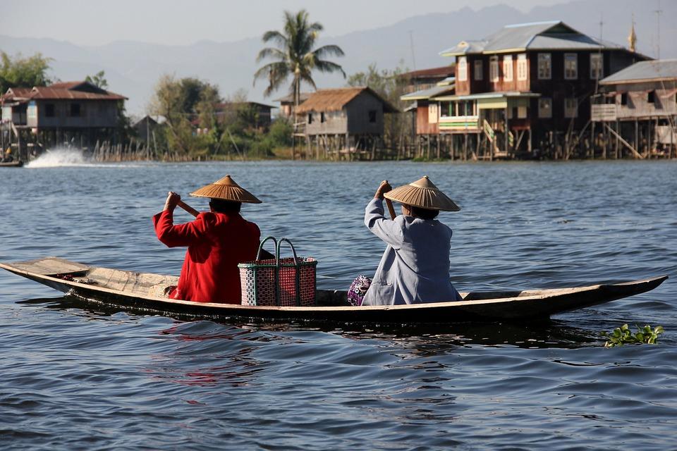 Boat, River, Transport, Lake, Water, Myanmar