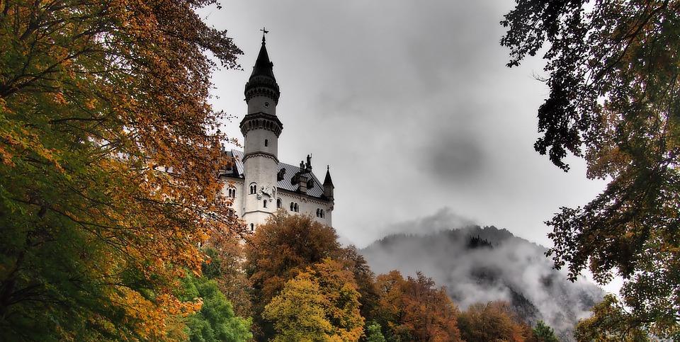 Castle, Mysterious, Fog, Mist, Mystical, Trees, Fall