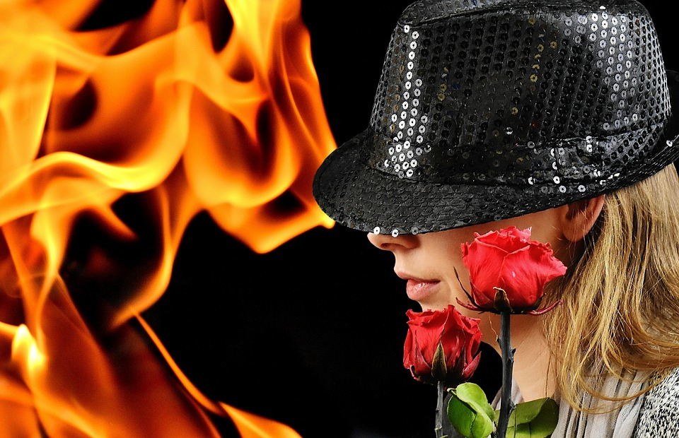 Woman, Hat, Roses, Fire And Flame, Mysterious, Fashion