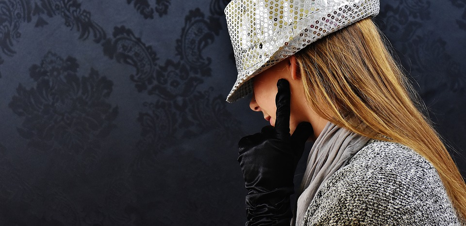 Woman, Hat, Silver, Mysterious, Fashion, Clothing