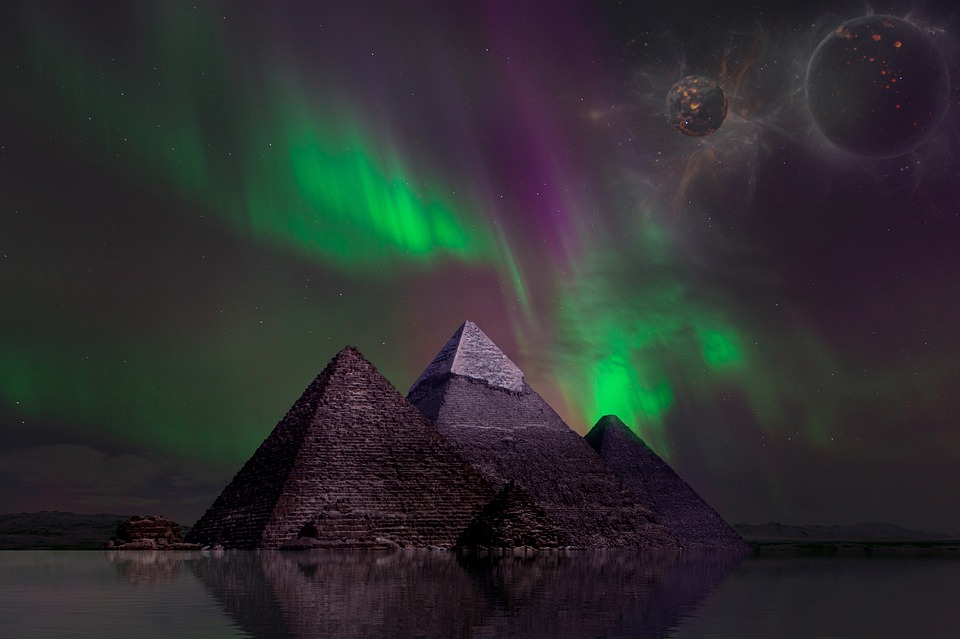 Fantasy, Pyramids, Mystic, Space, Reflection