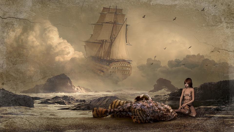 Fantasy, Ship, Mystical, Fish, Composing
