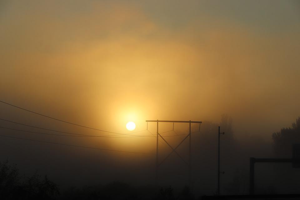 Sunrise, Sunset, Sun, Fog, Power Line, Mystical