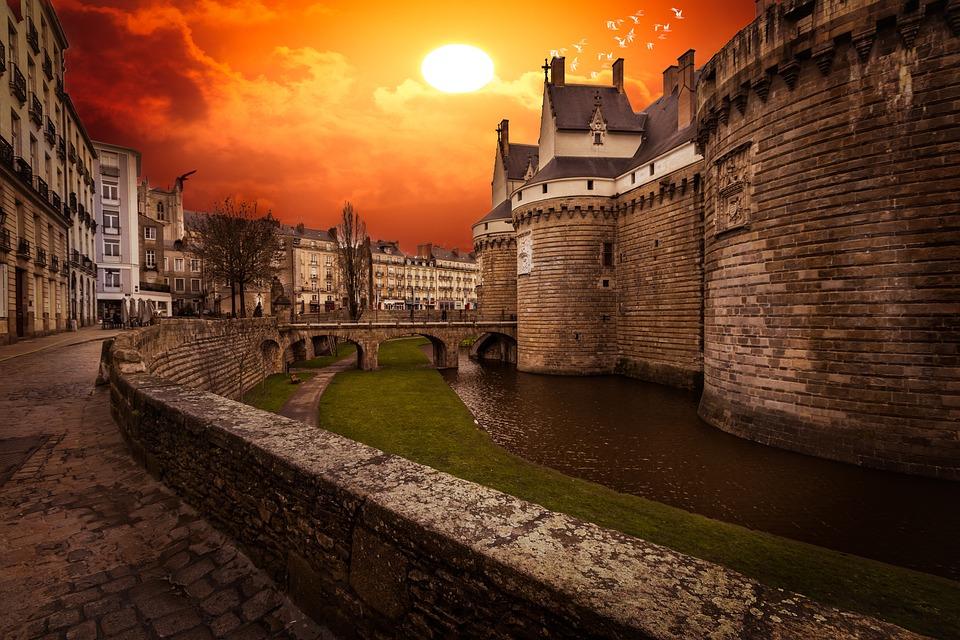 Nantes, Tourism, Castle, France, Pierre, Colors, Sunset