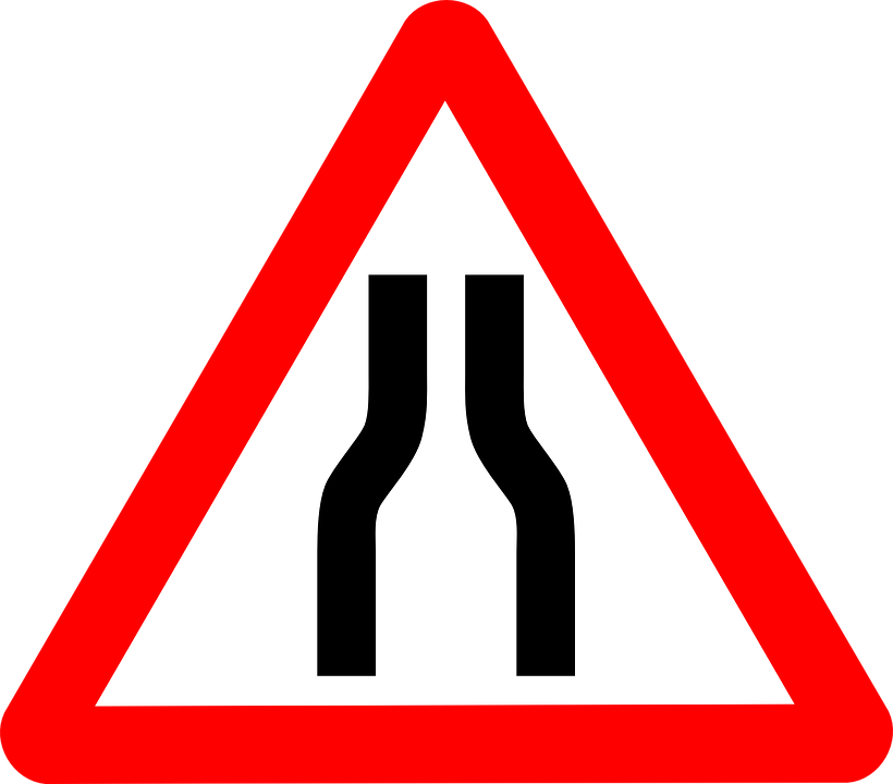 Narrows, Warning, Roadsigns, Signs, Narrowing, Road