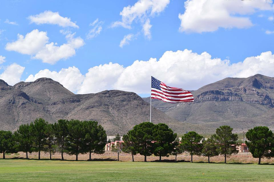Flag, American, Mountains, National, Symbol, United