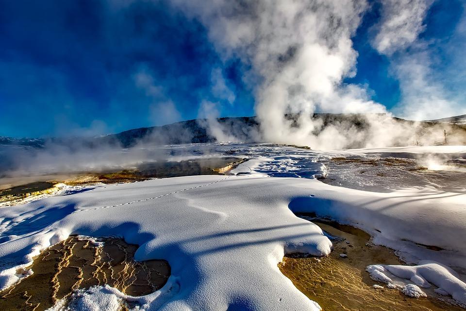 Yellowstone, National Park, Geyser, Hot Springs, Winter