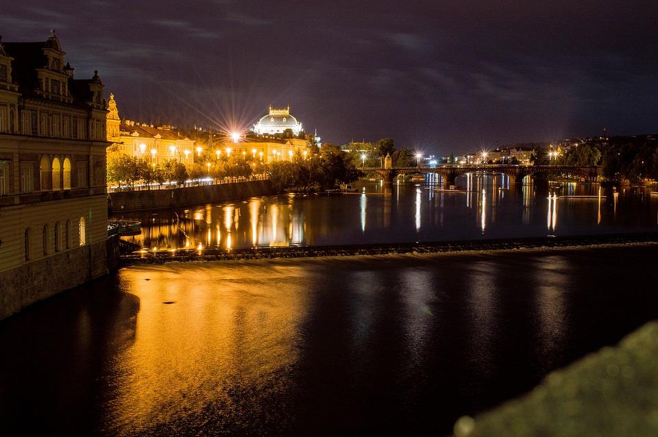 National Theatre, Prague, Night, Lights, City