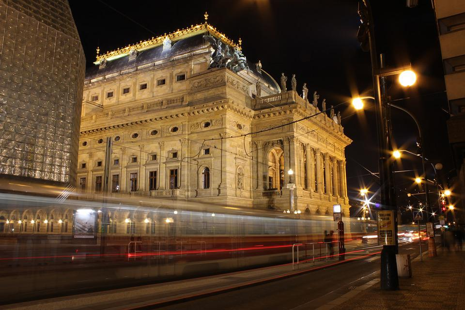 Prague, National Theatre, The Tram, Red, Night, History
